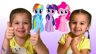 Pretend play with My Little Pony toys and Baby Born dolls #mylittlepony #babyborn - Elya & Adelya