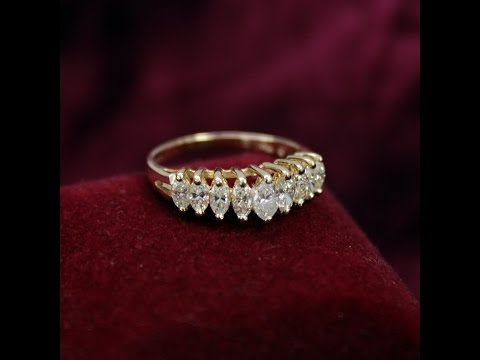 Marquise Diamond Anniversary Ring, 1 Carat, 14K Gold, Size 7-3/4, GIA Appraised
