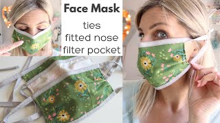 DIY Face Mask with Ties, Fitted Nose and Filter Pocket