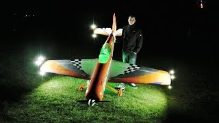 craig night flying his hanger 9 sukhoi 26 3 1 m with pyros at headcorn rc model aircraft show 2014