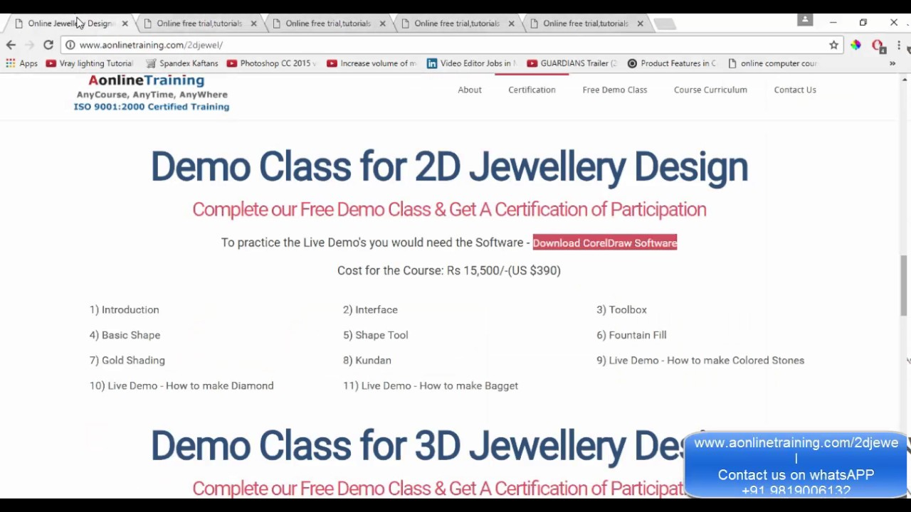 Online Jewellery Designing Courses (CAD/CAM) - Free Demo Class - Hindi