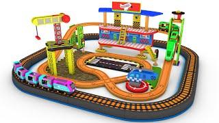 New Wooden Train Set - Choo Choo Train cartoon - Toy train Helicopter  kids videos - Choo choo toys
