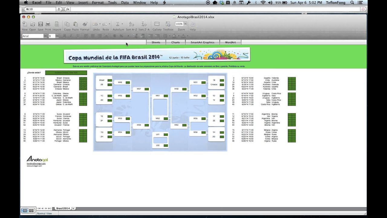 World Cup Excel Brackets - Office Pools, World Cup Predictor ...