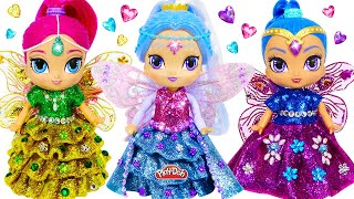 DIY How to Make Play Doh Sparkle Dresses with Wings for Shimmer and Shine Dolls