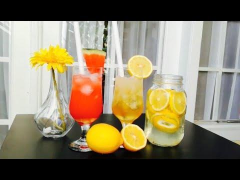 Minuman Segar Lemon Rumput Laut dan Lemon Semangka