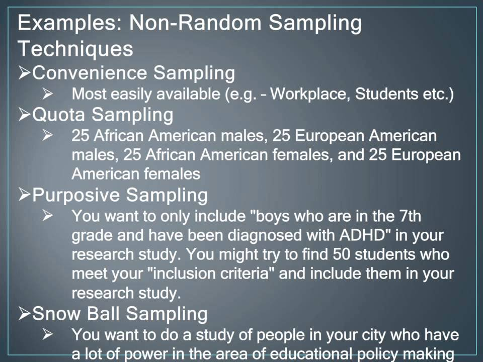 Non Random Sampling Techniques - YouTube