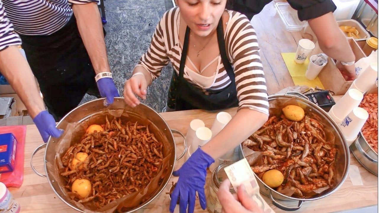 Cooking Fried Fish. Road Meals Kiev, Ukraine
