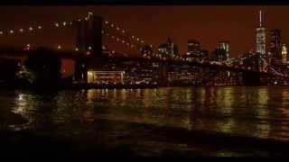 Brooklyn Bridge at night time. Manhattan