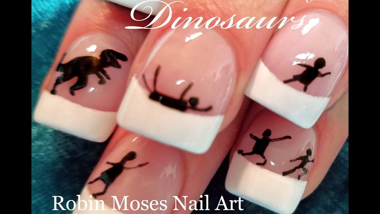 DIY Minimalist Nail Art Design   Jurassic Park Dinosaur Nails ...