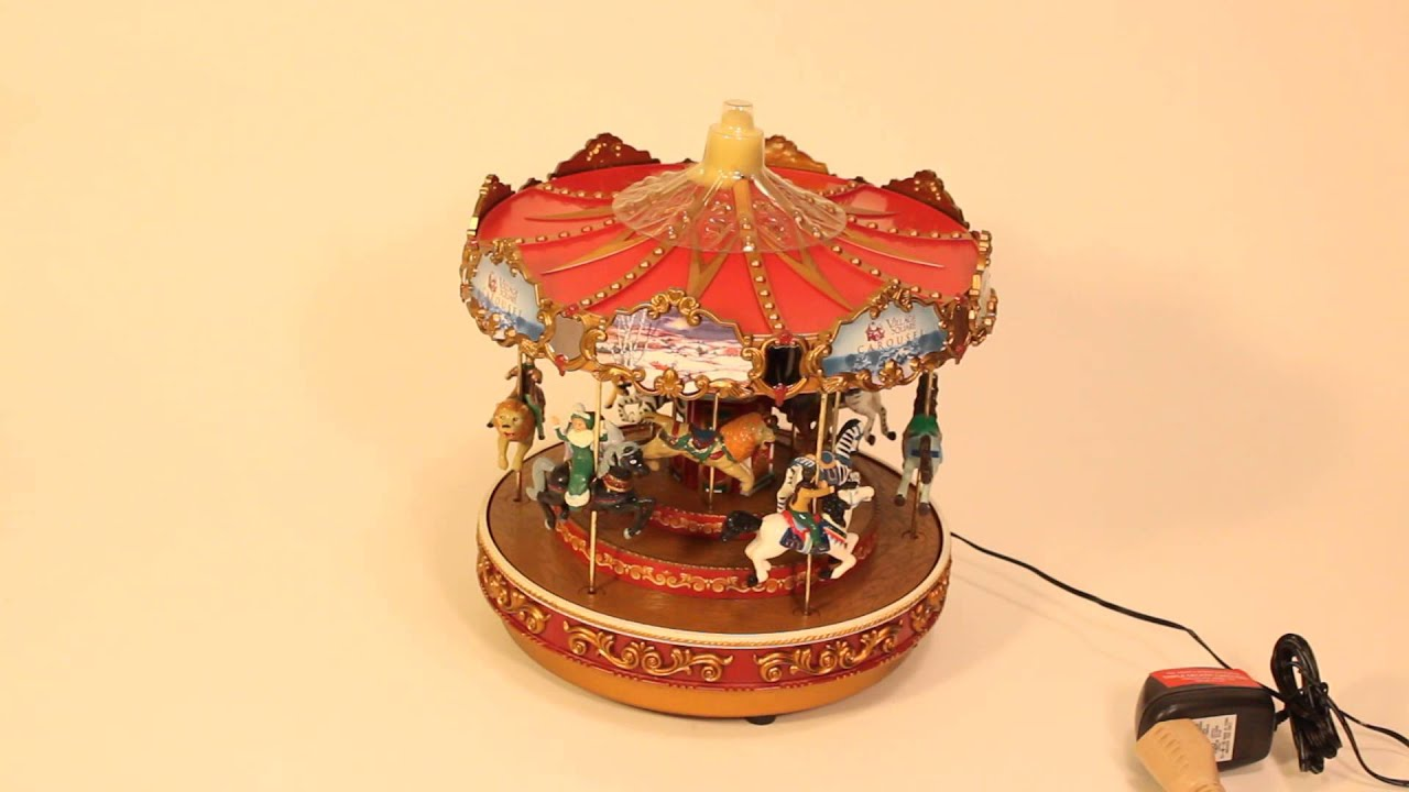 Mr Christmas Carousel.Vtg Mr Christmas Animated Holiday Village Square Musical Carousel Merry Go Round