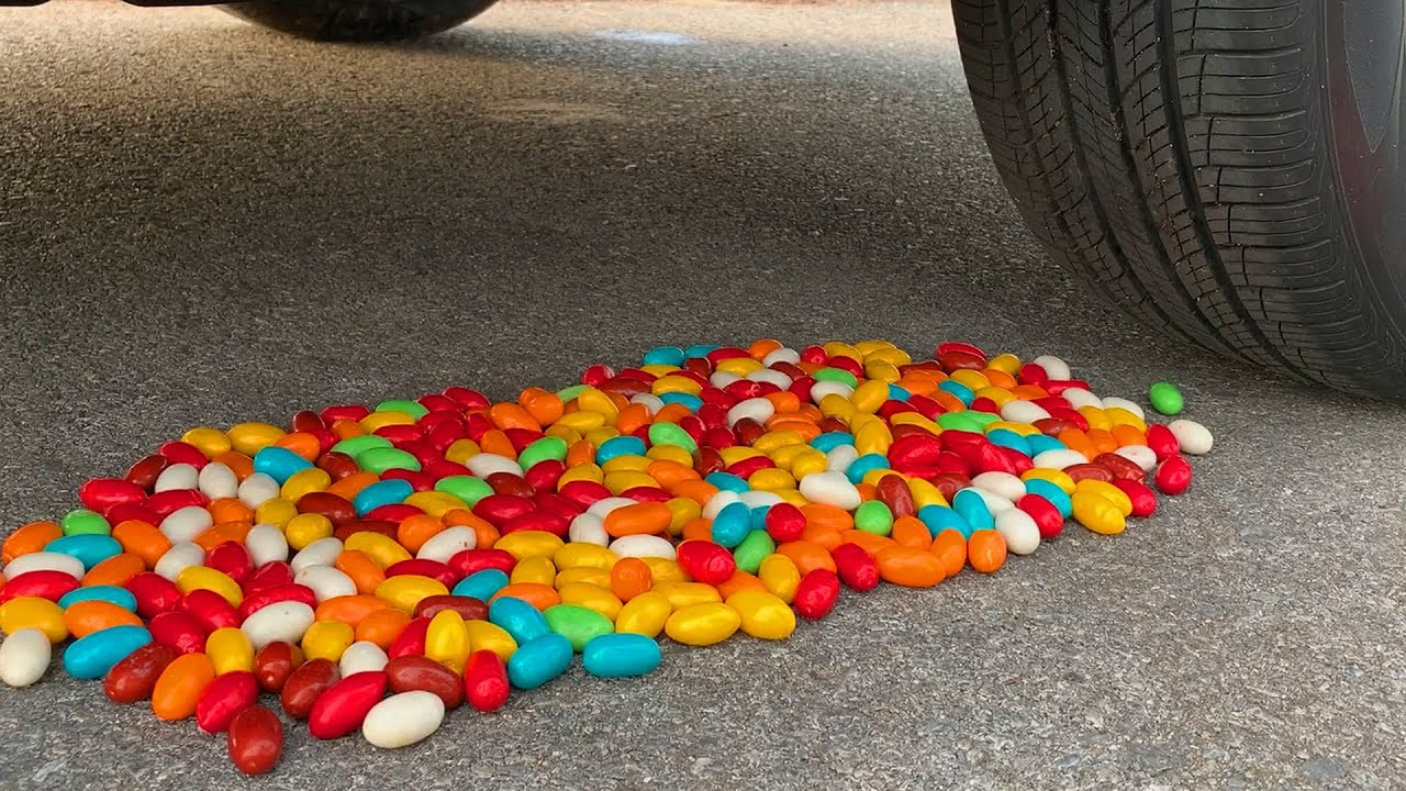 Experiment Car vs M&M Candy, Skittles candy   Crushing Crunchy & Soft Things by Car   Test S