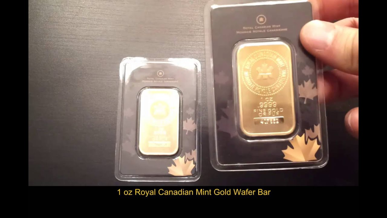 1 Oz Royal Canadian Mint Gold Bars 9999 Fine Gold Wafer