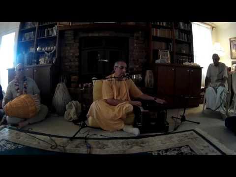 Niranjana Swami Chants Hare Krishna at a Home Program in Alachua