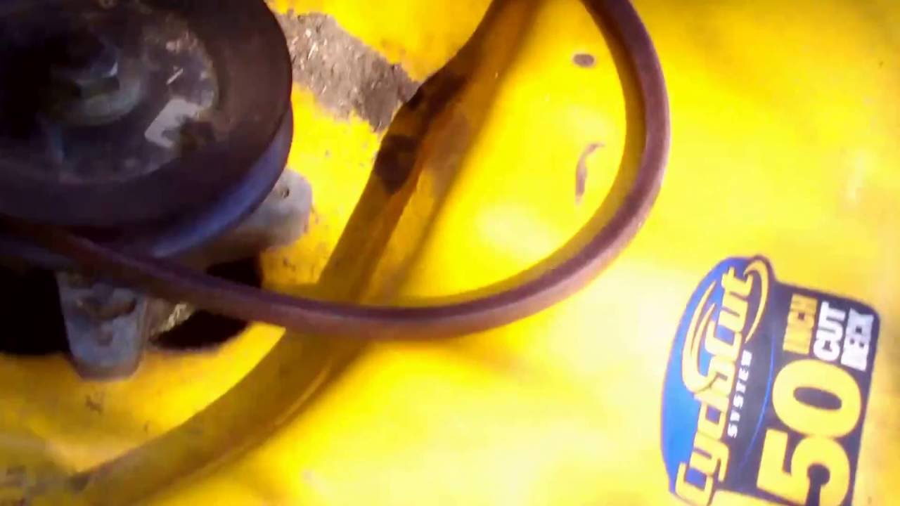how to replace the deck drive belt on a cub cadet mower [ 1280 x 720 Pixel ]