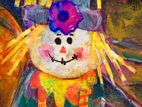 Using Gelli Plate Prints To Make Scarecrow With Mums and Pumpkins Still Life