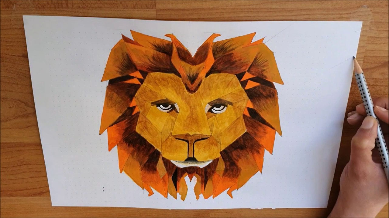 Step By Step Abstract Lion Painting Cubism Art How To Draw A Geometric Lion Lion Head Painting Youtube This profile view is of a beautiful female's face and i guide you through the drawing process by using simple geometric shapes, alphabet letters. step by step abstract lion painting cubism art how to draw a geometric lion lion head painting