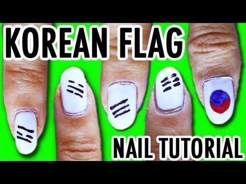 KOREAN FLAG NAILS (K-pop Nail Tutorial #5)