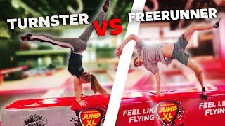 TURNSTER VS FREERUNNER IN TRAMPOLINEPARK | Jumpxl
