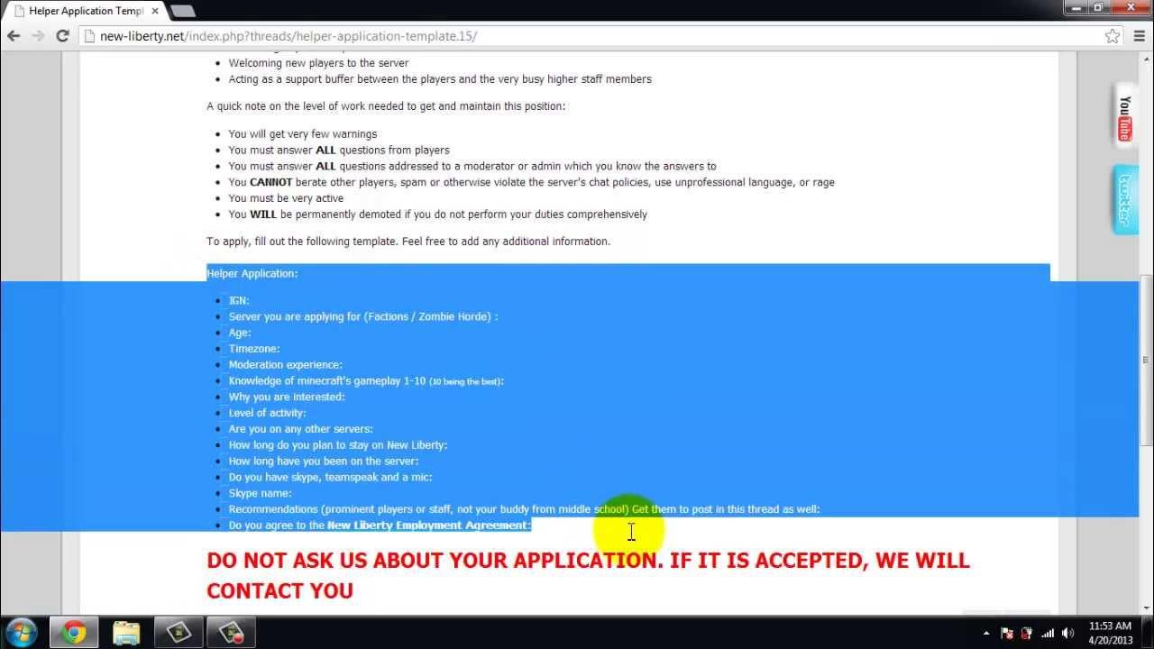 Moderator Application Hypixel