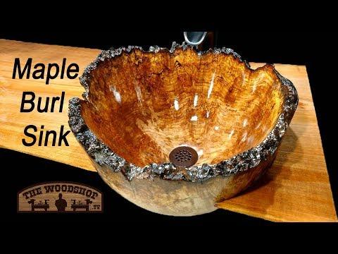 Woodturning / Maple Burl Sink / Bathroom Remodel