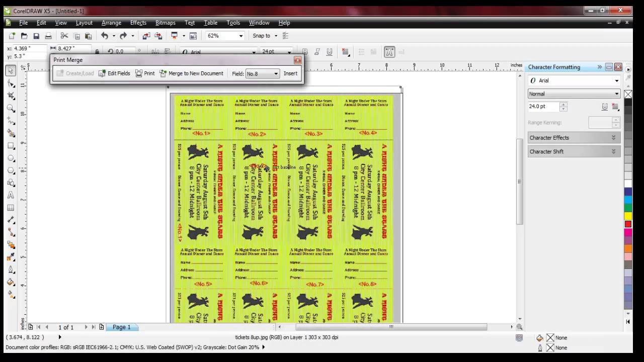Raffle Ticket Numbering With Number Pro And Corel Draw   YouTube  Numbering Tickets In Word