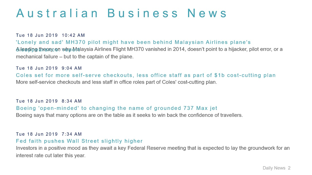 Business News Headlines for 18 Jun 2019 - 1 PM Edition