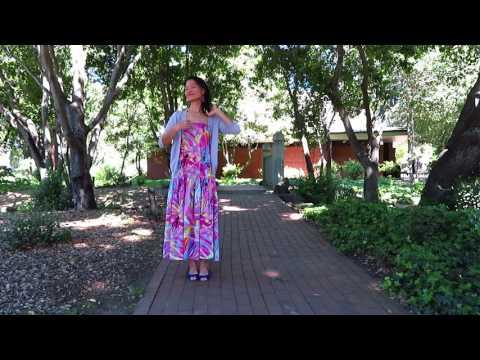 OOTD - big flower dress in Menlo Park