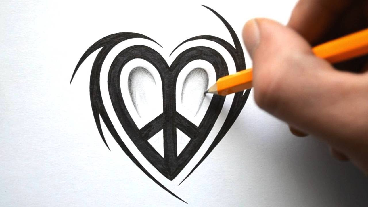 How To Draw A Peace Love Symbol Design Youtube