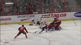 Nico Hischier blasts home first NHL goal in front