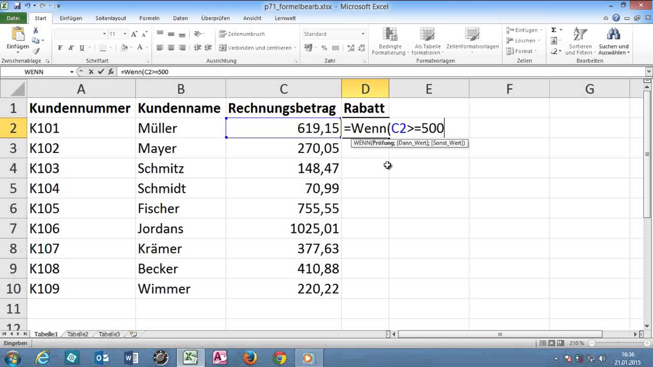 excel in formel