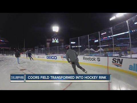 Coors Field transformed into hockey rink