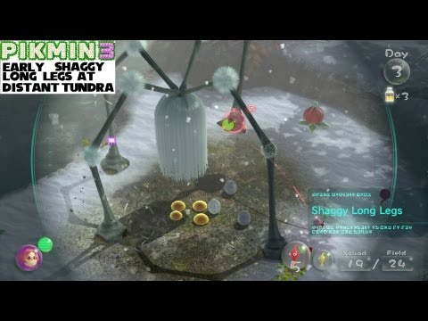 Pikmin 3 glitch: Early Shaggy Long Legs at Distant Tundra with unlimited in-game clock.