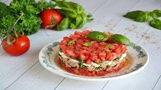 Салат с тунцом помидорами и моцареллой
