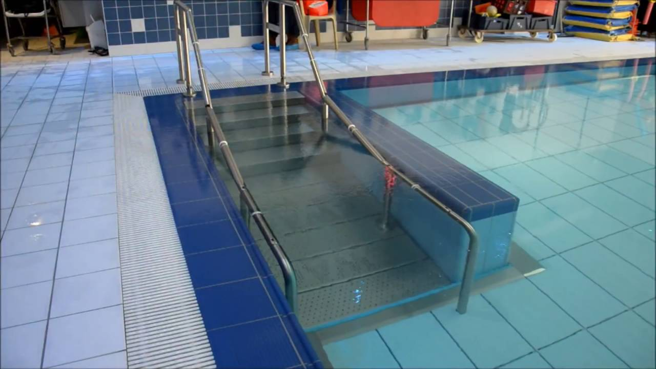 Ewac Medical Integrated Self Adjusting Staircase In Movable Swimming Pool Floor Youtube