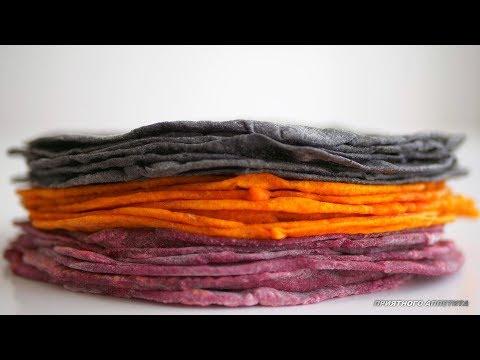 Разноцветный тонкий лаваш на сковороде. 100% натуральные красители. Без яиц и молочных продуктов