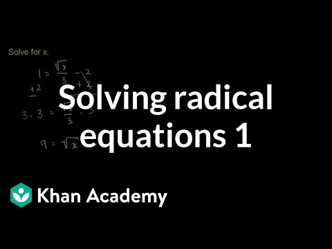 Solving radical equations 1 | Exponent expressions and equations | Algebra I | Khan Academy
