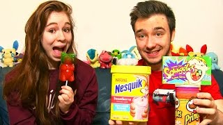 dgustation my american market en couple 2 bonbon nounours gant nesquik  la fraise