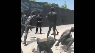 Realistic statues of African and American slaves