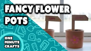FANCY FLOWER POT LABELS - One Minute Crafts