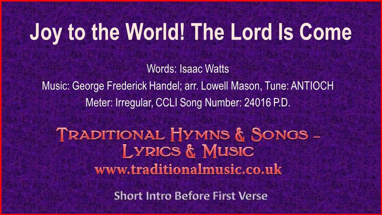 Joy To The World! The Lord Is Come(Watts-violin piano) - Christmas Carol, Lyrics & Music - YouTube
