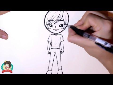 สอนวาดรูปการ์ตูน เด็กชาย ยืนเท่ห์ๆ มาดูกัน By Biki Baam