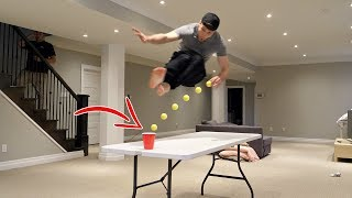 IMPOSSIBLE PING PONG TRICK SHOTS | JustDustin