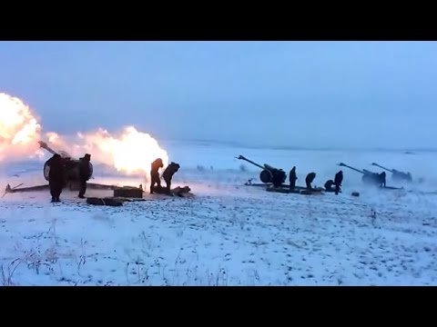 Ukraine War - Russian artillery shelling Ukrainian army positions near Donetsk Ukraine