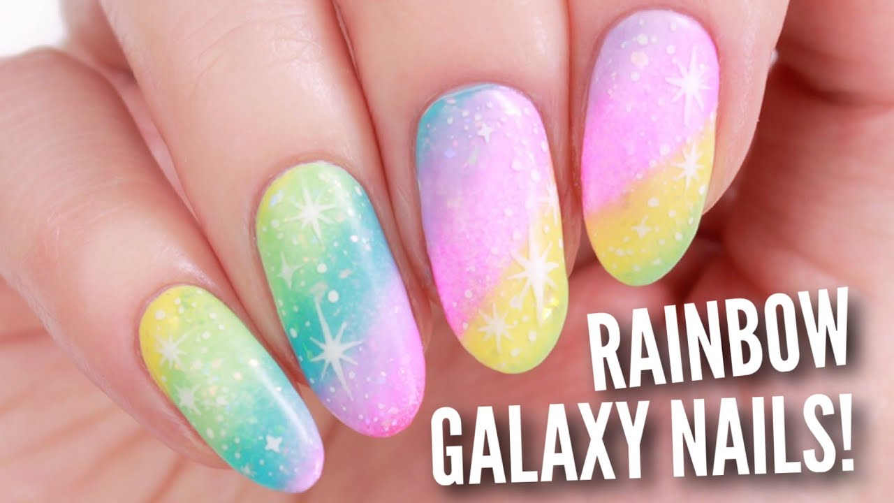 Diy Rainbow Galaxy Nail Art Youtube