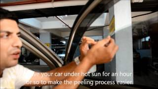 How to Remove Sun Film From Car Windows?(Explains How to easily remove Sun films or Tint films from car windows with a paint scraper and liquid soap. Works well in India especially after the Supreme ..., 2012-05-19T17:21:24.000Z)