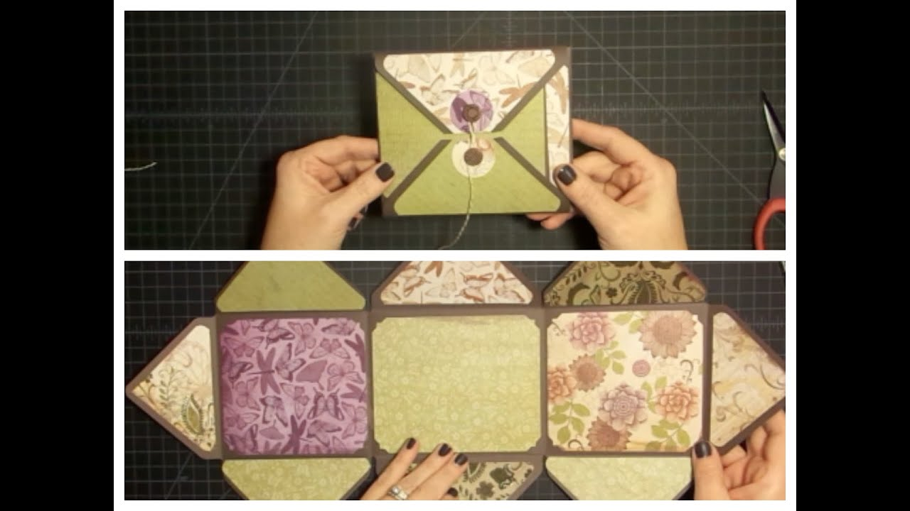 How to make scrapbook using illustration board - Envelope Explosion Mini Album Using The Envelope Punch Board