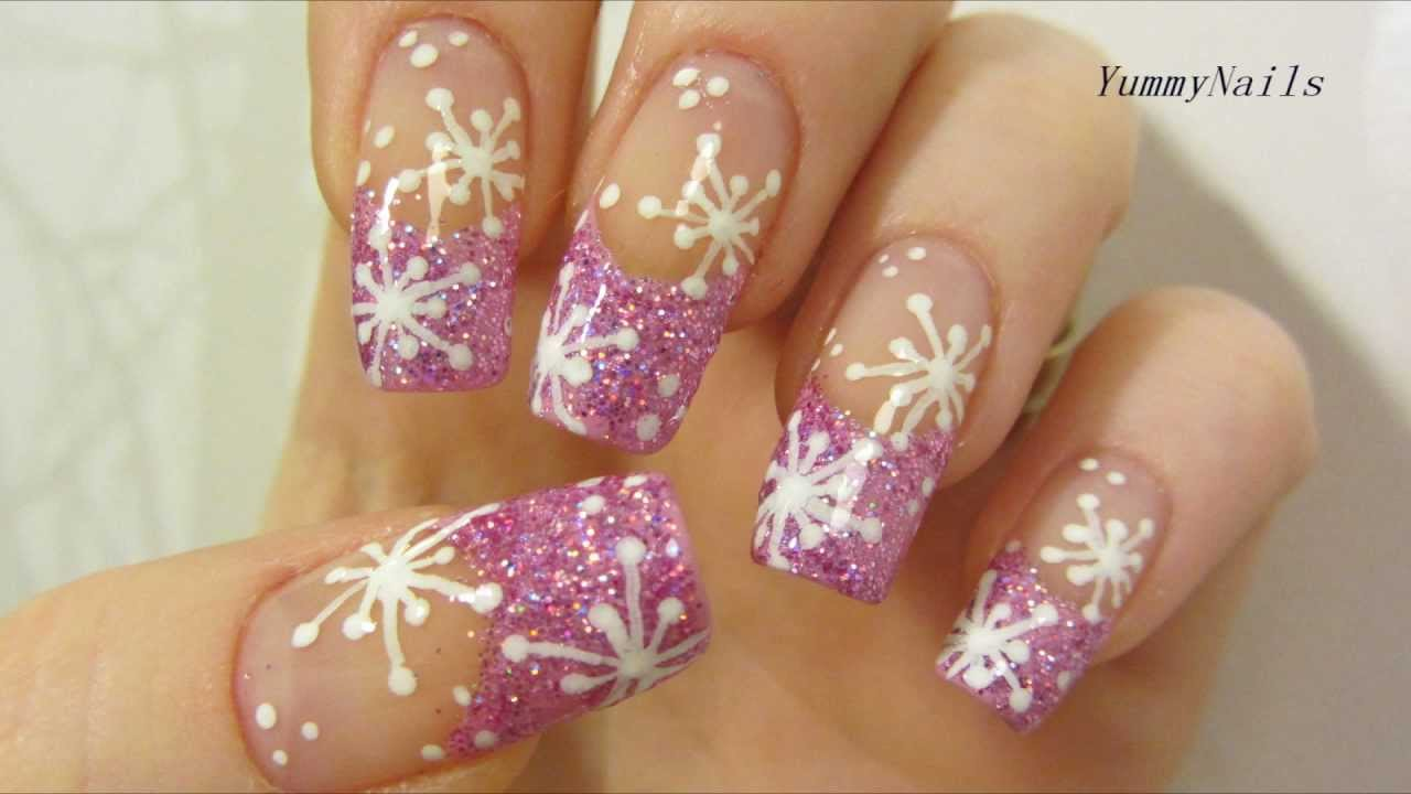 Pink Icy Snowflake Design With Holographic Glitter Nail Art Tutorial