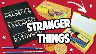 DIY MATERIAL ESCOLAR STRANGER THINGS - CADERNO QUE BRILHA NO ESCURO, ESTOJO ...