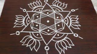 lotus rangoli designs with 5 to 3 interlaced dots- muggulu designs- lotus kolam designs