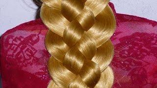 видео Из 5 прядей коса: схемы плетения